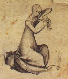 Medieval woman combing her hair
