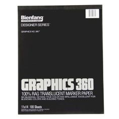 Bienfang Graphics 11 by 14-Inch 360 Paper Pad, 100 Sheets: Arts, Crafts & Sewing  Really great paper to do final drawings on. It's semi-transparent so you can trace over roughs. It takes ink very well. The best part is it scans beautifully (unlike tracing paper).