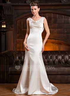 Trumpet/Mermaid Cowl Neck Court Train Ruffle Lace Beading Sequins Zipper Up at Side Cap Straps Sleeveless Church General Plus No Winter Spring Fall Ivory Charmeuse Wedding Dress