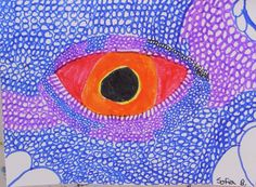 Lizard Eye drawings with a discussion on texture for the scales.