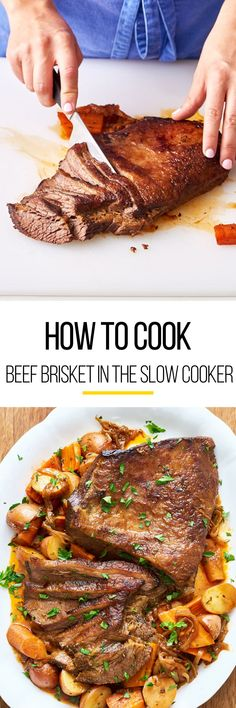 How to make SUPER TENDER beef brisket in your crockpot or slow cooker. Pull out your crock pot to make this recipe just like your Jewish grandmother used to make! So easy with step by step photos. This classic comfort food recipe is perfect for cold weath Beef Brisket Crock Pot, Crock Pot Slow Cooker, Crock Pot Cooking, Slow Cooker Recipes, Crockpot Recipes, Beef Brisket Slow Cooker, Easy Crock Pot Brisket Recipe, Cornbeef Brisket Crockpot, Brisket Meat