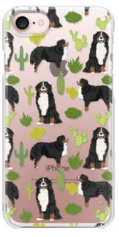 Casetify iPhone 7 Snap Case - Bernese Mountain Dog cactus southwest desert style dog gifts for bernese owner by Pet Friendly