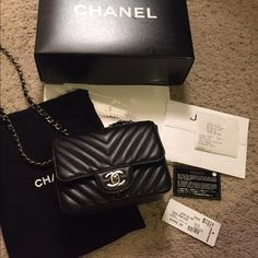 Chanel Caviar Chevron Square Mini Flap SHW Beautiful like new square mini! Purchased from Jeffrey NYC. In excellent condition and can send more photos via mail. Includes dustbag box authenticity card tags and receipt. I love this bag but love gold hardware more! Will sell via ️️ for lower. Reasonable offers only! CHANEL Bags Mini Bags