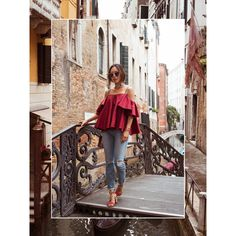 Off The Shoulder Ruffle Top in Venice, Italy ❤ liked on Polyvore featuring pictures