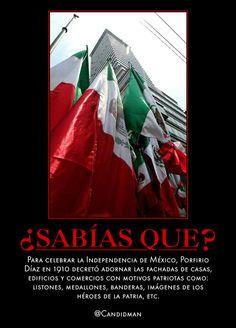 #Curiosidades #SabiasQue Para celebrar la #Independencia de #Mexico, #PorfirioDiaz en 1910 decretó adornar las fachadas de casas, edificios y comercios con motivos patriotas como: #Listones, medallones, #Banderas, imágenes de los héroes de la patria, etc. @candidman