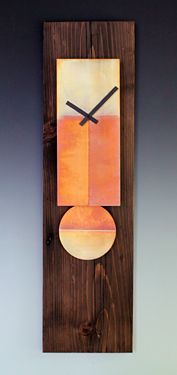 Copper & Barn Wood Pendulum Clock · 32x9x3 inches by Leonie Lacouette