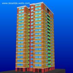 Rectangle Tower apartment block 3D model in AutoCAD Tower Apartment, Apartment Plans, Plan Design, Prefab, Autocad, Architecture Design, House Plans, Floor Plans, 3d