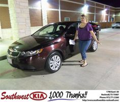 #HappyAnniversary to Jennifer Dunn on your 2011 #Kia #Forte from Kathy Parks at Southwest KIA Rockwall!