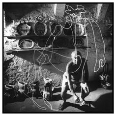 """Pablo Picasso's Flashlight Centaur Renowned LIFE photographer Gjon Mili, a technical genius and lighting innovator, visited Pablo Picasso in the South of France in 1949. Mili showed the artist some of his photographs of ice skaters with tiny lights affixed to their skates, jumping in the dark -- and Picasso's lively mind began to race. This series of photographs, since known as Picasso's """"light drawings,"""" were made with a small flashlight or """"light pencil"""" in a dark room; the images vanished ..."""