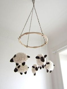 Baby mobile sheep lamb nursery decor baby gift shower by pingvini