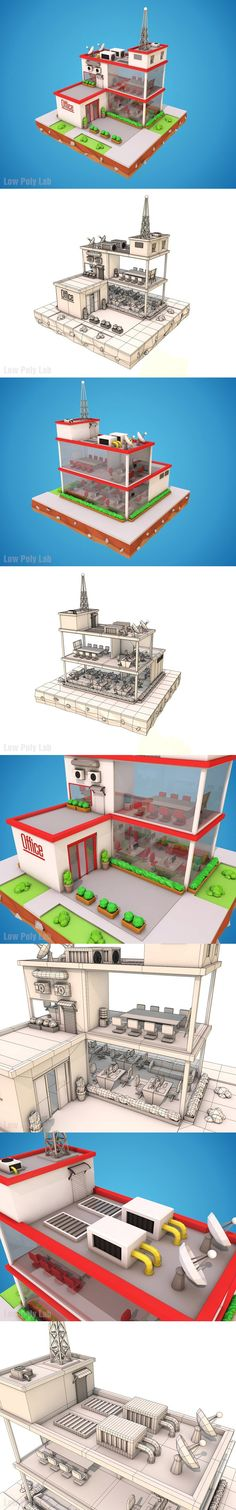 Cartoon Office Low Poly 3D Model. 3D Architecture