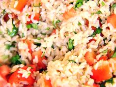 Get this all-star, easy-to-follow Brown Rice, Tomatoes and Basil recipe from Ina Garten.