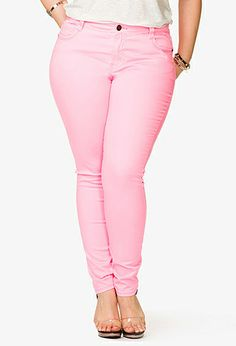 575be037604a Neon Skinny Jeans | FOREVER21 PLUS Dorm Accessories, Pink Skinny Jeans,  Forever 21 Plus