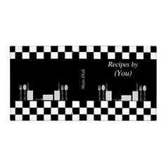 Personalized Checkerboard Black and White Cookbook 3 Ring Binders