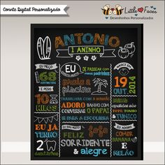 Quadrinho Aniversário Chalkboard Surf   LittleFaces   Elo7