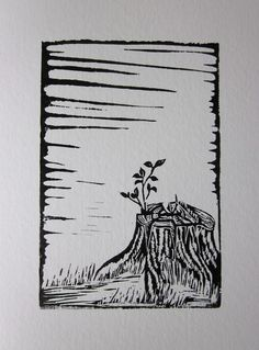 new growth. linocut.