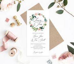 Spring Blush Wedding Invitations, Blush Invitations, Blush Floral, Pastel invites, Pink Wedding, Floral Wreath, Sample