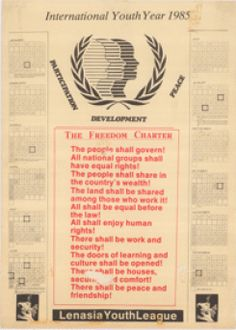 International Youth Year 1985 : Participation developement peace : The freedom charter : Lenasia Youth League