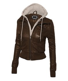 Look what I found on #zulily! Hot From Hollywood Chocolate & White Faux Leather Hooded Moto Jacket - Plus Too by Hot From Hollywood #zulilyfinds