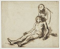 Rembrandt – 1630 The Good Samaritan, sketch on paper 11.1 x 13.7 cm