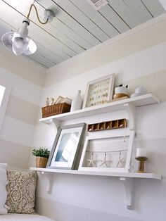 I would love some white shelves like these for photos and momentos in our bedroom