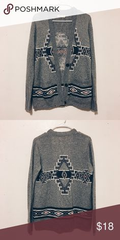 TRIBAL PATTERNED CARDIGAN Grey wool cardigan with cute native american type pattern on it. Hollister Sweaters Cardigans