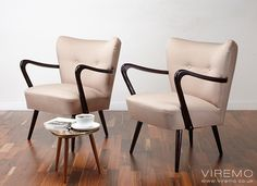 Pair of cocktail chairs, vintage armchairs www.viremo.co.uk