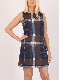 Womens *Izabel London Multi Brown Check Shift Dress- Brown