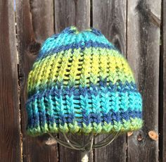 Blue multi colored beanie
