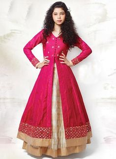 New Cream and Hot Pink Long Sleeve Indo Western Lehenga Choli Lehenga For Girls, Gowns For Girls, Wedding Dresses For Girls, Indian Wedding Outfits, Girls Dresses, Lehanga For Kids, Lehenga Choli Designs, Kids Lehenga Choli, Silk Lehenga