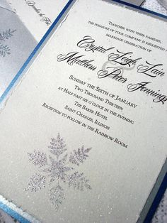Winter Wedding Invitations silver snowflake