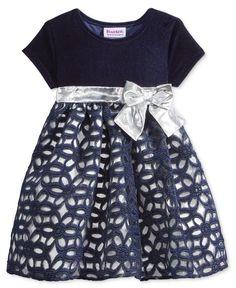 Blueberi Boulevard Velvet & Floral-Skirt Dress, Baby Girls (0-24 months)