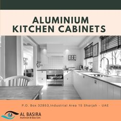 Create space and incorporate ample storage facilities to fit in all your essential appliances with aluminium kitchen cabinets designed by Al Basira. Get in touch with us now to get a custom quote! Home Renovation, Home Remodeling, Must Have Kitchen Gadgets, Home Finder, Property Management, Home Staging, Estate Homes, Cool Kitchens, House Plans