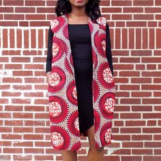 Yetta African Print Long Vest (Fire Burst)