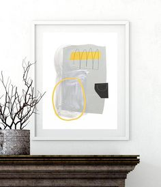 Large Abstract Minimalist Art Yellow and Gray Wall Art Grey Wall Art, Yellow Wall Art, Grey Art, Large Art Prints, Artwork Prints, Scale Art, Minimalist Art, Abstract Wall Art, Printable Art