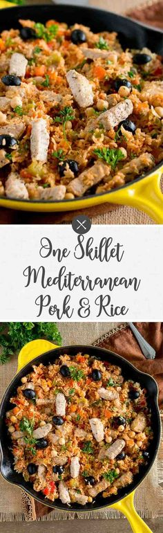 This One Skillet Mediterranean Pork and Rice is a delicious meal the whole family will love. It's easy and quick - only 30 minutes and one pan meal. via Delicious Meets Healthy Pork Recipes, Lunch Recipes, Healthy Dinner Recipes, Pasta Recipes, Crockpot Recipes, Breakfast Recipes, Vegetarian Recipes, Chicken Recipes, Potato Recipes