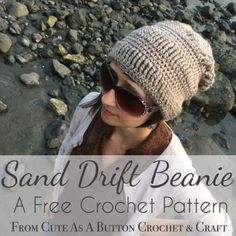 The Sand Drift Beanie is a free crochet hat pattern from Cute As A Button Crochet & Craft. Alternating rows of quadruple treble crochet and half double crochet create an eye catching texture and comfy slouch! Crochet Crafts, Free Crochet, Knit Crochet, Double Crochet, Crochet Projects, Autumn Crochet, Chunky Crochet, Yarn Crafts, Crochet Beanie Pattern