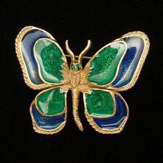 Butterfly Pin Vintage Enamel Florenza Brooch