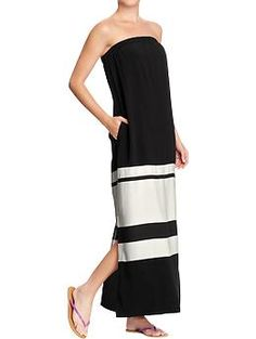 Womens Color-Blocked Tube Maxi Dresses | Old Navy