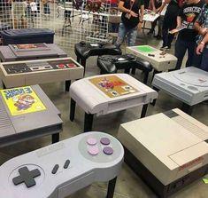 Deco Gamer, Geek Home Decor, Arcade Room, Video Game Rooms, Video Games, Video Game Decor, Video Game Bedroom, Video Game Table, Teen Game Rooms