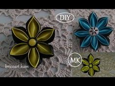 DIY for Girls/How to/Kanzashi flower Tutorial/Ribbon flower/Flor de cinta/MK/канзаши: bricoart.kam - YouTube
