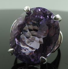 17.43 Ct Natural Purple Amethyst Gem .925 Sterling Silver Solitaire Ring