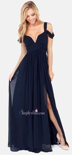 prom dress, 2016 prom dress, long prom dress, chiffon prom dress, navy blue prom dress, prom dress with side slit, graduation dress, party dress, cheap prom dress under 100