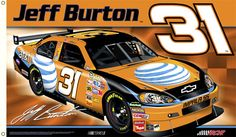 Jeff Burton BURTON NATION Giant 3'x5' NASCAR Flag - #31 Ray Childress Racing Chevrolet - available at www.sportsposterwarehouse.com