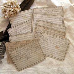 Handwritten antique French music sheets