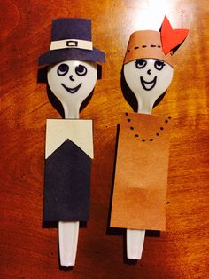 Thanksgiving craft--Spoon pilgrim and Indian puppets!