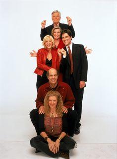 Dharma & Greg (1997-2002) - Susan Sullivan (Kitty Montgomery), Jenna Elfman (Dharma Finkelstein Montgomery), Mitch Ryan (Edward Montgomery), Thomas Gibson (Greg Montgomery), Alan Rachins ( Larry Finkelstein) and Mimi Kennedy (Abby O'Neil)