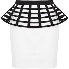 Sass & Bide Much Adored Peplum Skirt (4,980 HNL) ❤ liked on Polyvore featuring skirts, mini skirts, bottoms, saias, black and ivory, ivory skirt, mini skirt, fitted mini skirt, ivory mini skirt and peplum mini skirt