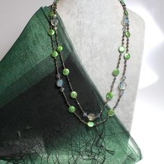 "Golnar Jewelry - NECKLACE COIN PEARLS GREEN WITH CRYSTALS 50"" LONG, $99.00 (http://www.golnarjewelry.com/necklace-coin-pearls-green-with-crystals-50-long/)"