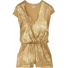 Haute Hippie Sequined silk playsuit (€235) ❤ liked on Polyvore featuring jumpsuits, rompers, dresses, playsuits, shorts, gold, playsuit romper, haute hippie, loose jumpsuit and sequin rompers